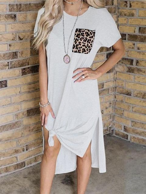 Retro Leopard Pocket Casual Dress