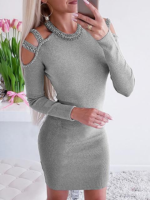 Rhinestone Cold Shoulder Bodycon Dress