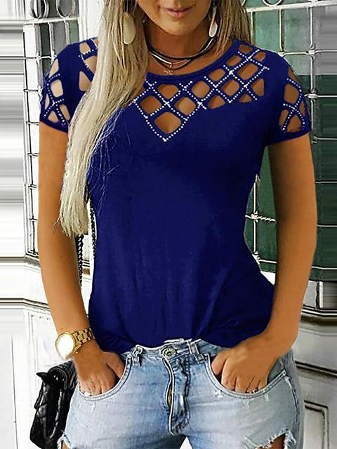 Rhinestone Hollow Out Short Sleeve Tops