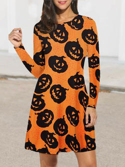 Round Neck Casual Halloween Dress