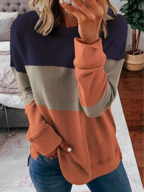 Round Neck Color Block Casual Sweatshirt