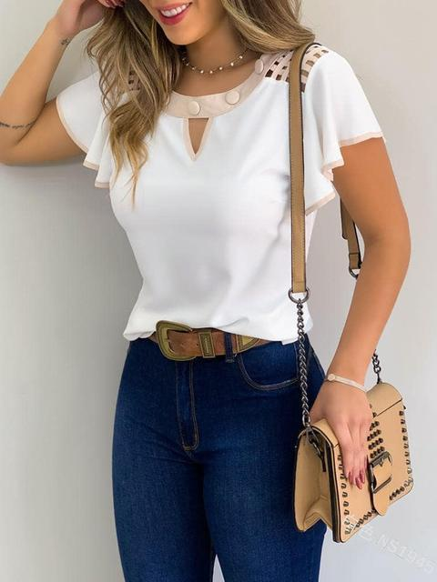 Round Neck Ruffled Short Sleeve Tops