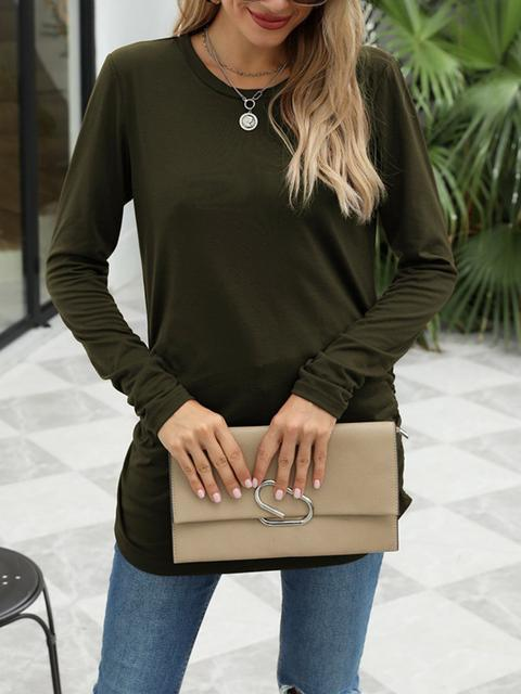 Round Neck Solid Color Casual Tops