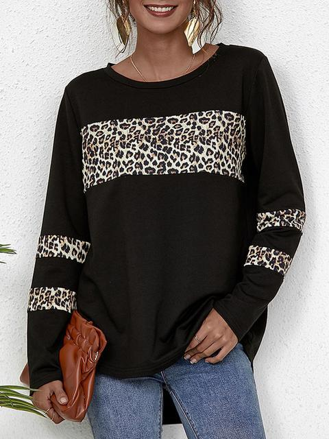 Round Neck Stitching Leopard Blouse
