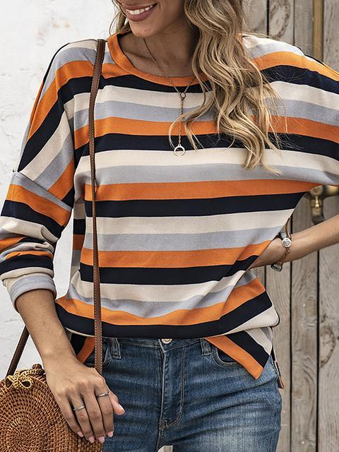 Round Neck Striped Print Long Sleeve Tops