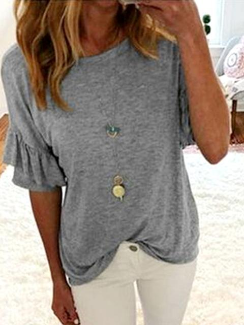 Ruffle Sleeve Solid Casual Tops