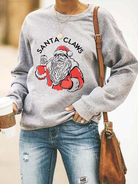 Santa Claws Print Christmas Sweatshirt