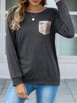 Sequin Pocket Long Sleeve T-shirts