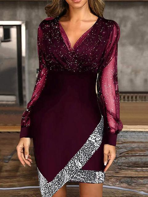 Sequins V Neck Long Sleeves Elegant Dresses