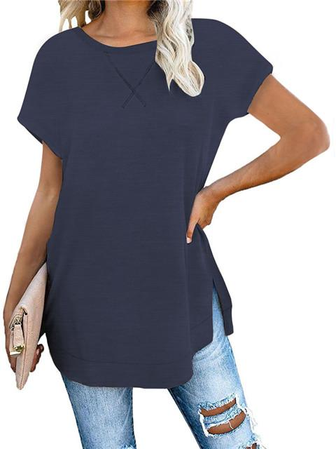Short Sleeve Split Hem Casual T-shirt
