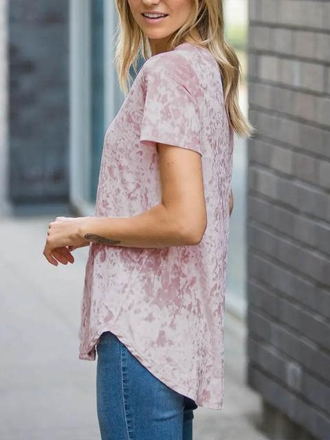 Short Sleeve V-neck Loose Velvet Tops