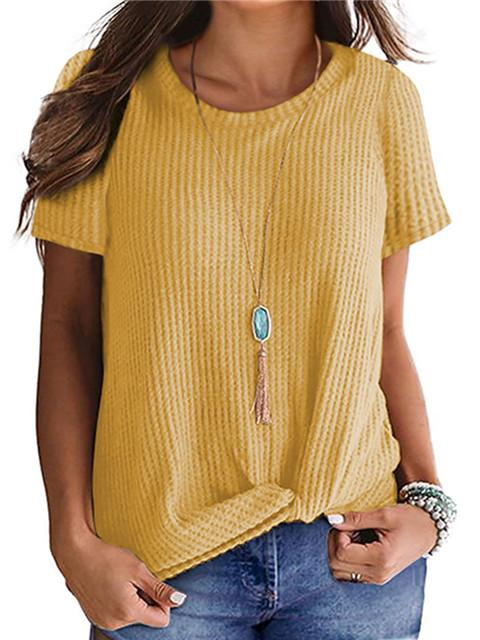 Short Sleeve Waffle Knit Twisted Tops
