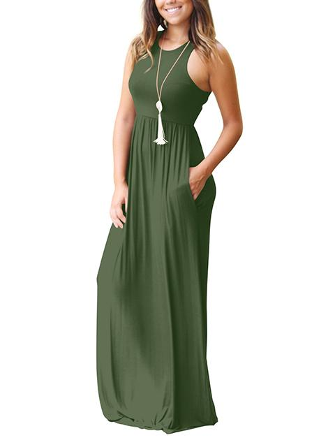 Sleeveless Casual Maxi Dress with Pockets