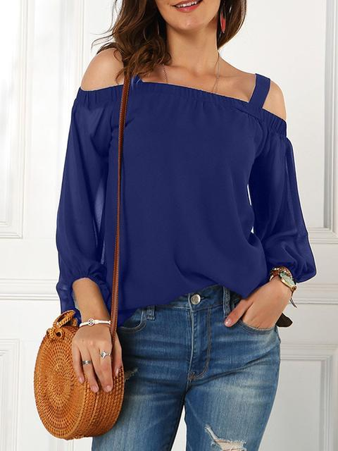 Sling Shoulder Long Sleeve Tops