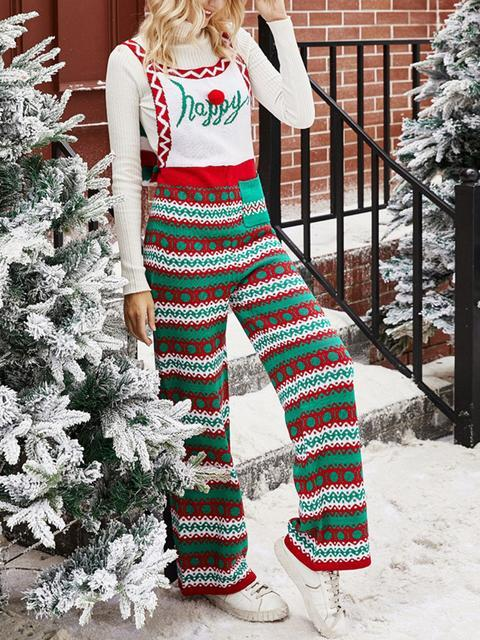 Snowflake Knitted Christmas Loose Jumpsuit