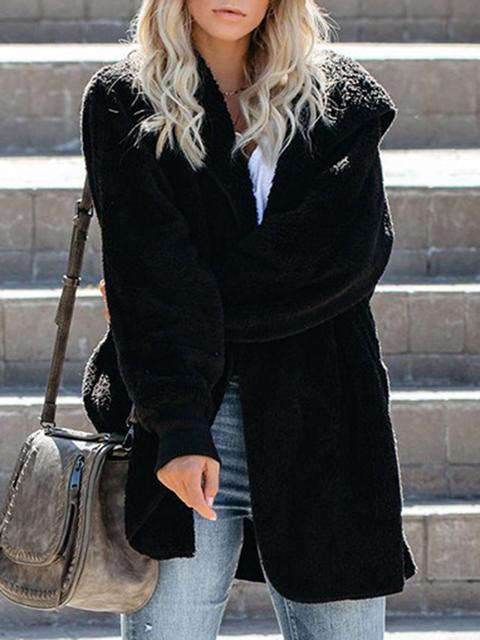 Solid Casual Hooded Sweater Coat