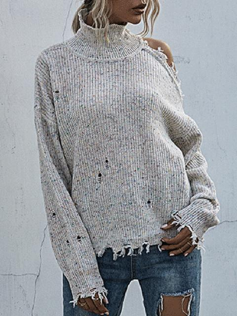 Solid Casual Pullover Regular Sweater