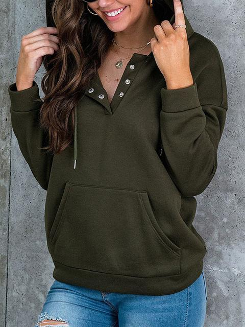 Solid Color Button Up Hoodie