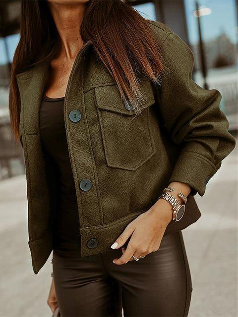 Solid Color Buttons Up Short Jacket