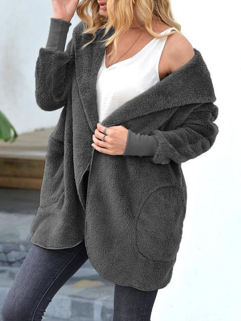 Solid Color Hooded Plush Trench Coat