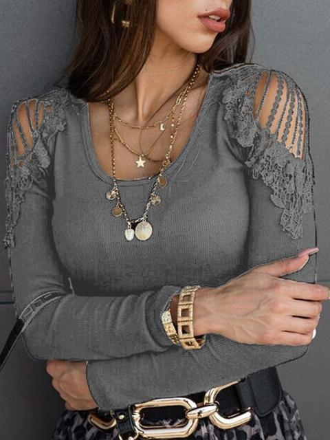 Solid Color Lace Cold Shoulder Tops