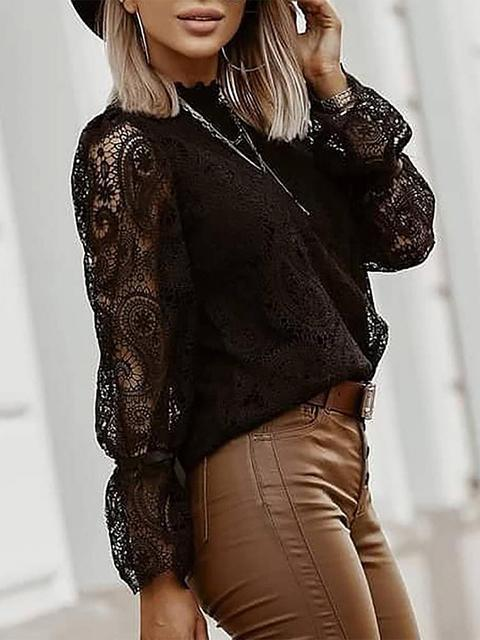 Solid Color Lace Patchwork Tops