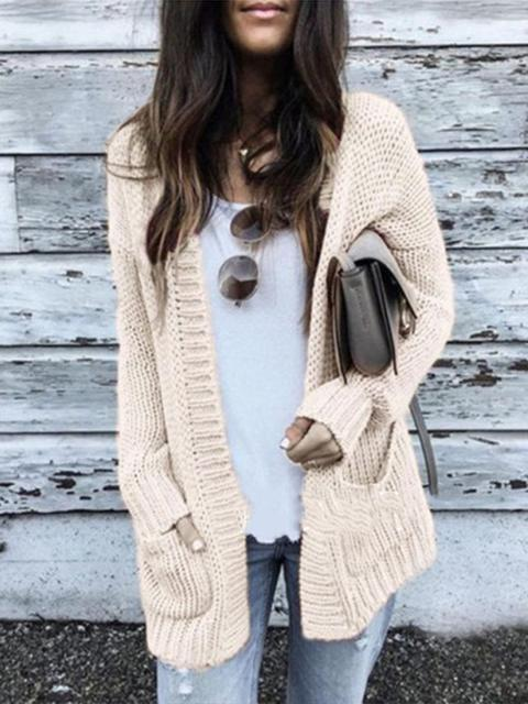Solid Color Lightweight Knitted Sweater Cardigan