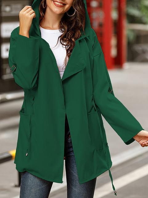Solid Color Long Hooded Coat