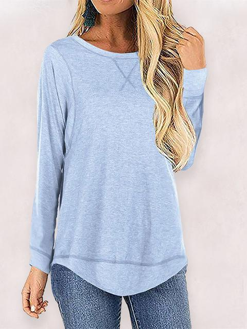 Solid Color Long Sleeve Loose Tops