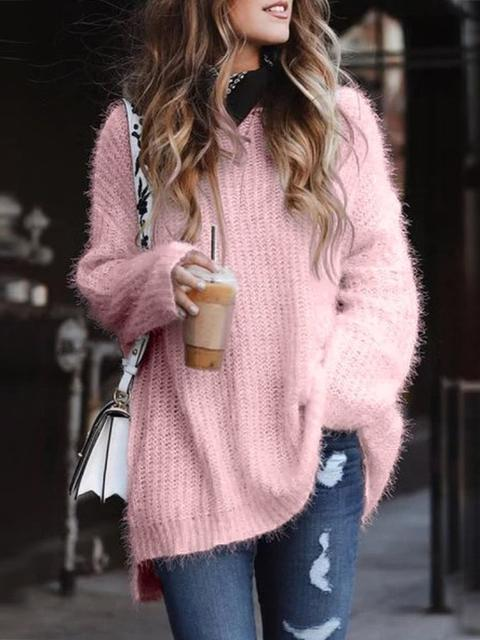 Solid Color Loose Knitting Pullover