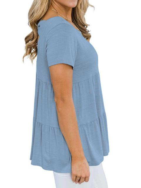 Solid Color Pleated Loose Tops