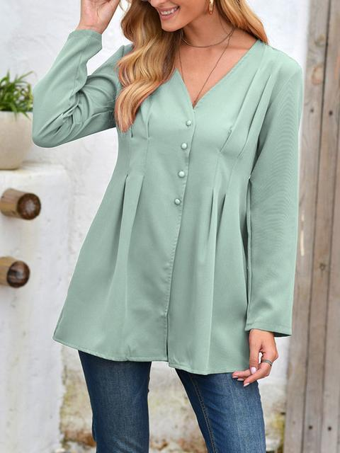 Solid Color Pleated V-neck Tunic Shirts