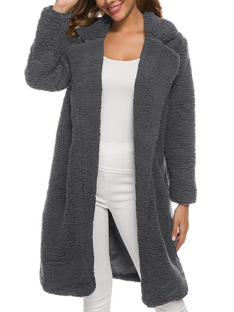 Solid Color Woolen Long Plush Coat