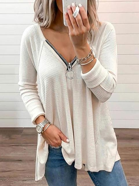Solid Color Zipper Edge Long Sleeve Tops Blouse