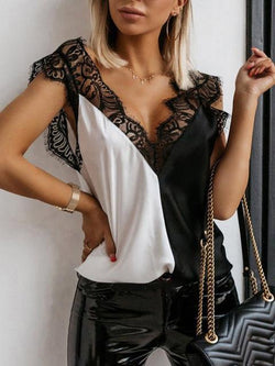 Solid Lace Stitched Tank Tops