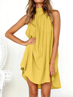 Solid Round Neck Mini Dress