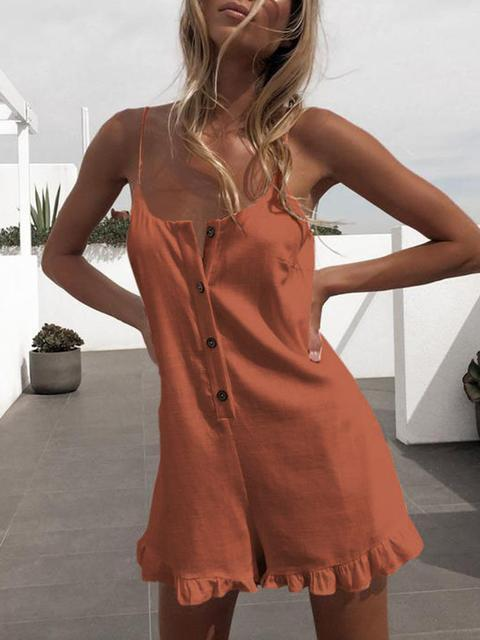 Solid Sleeveless Suspenders Romper