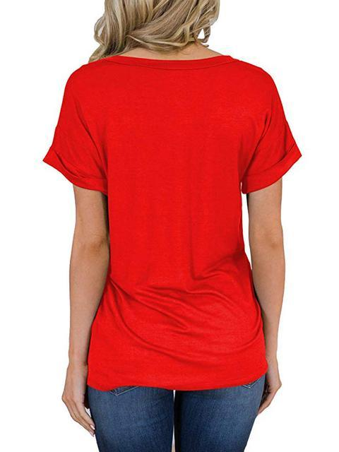 Solid V Neck Casual T-shirt with Pocket