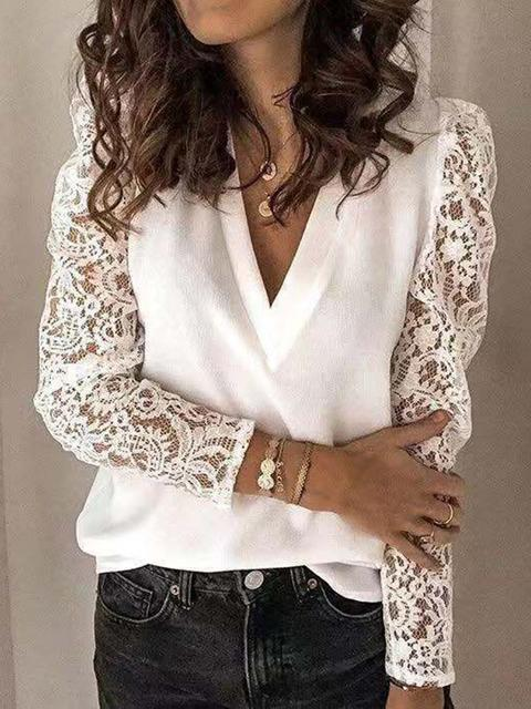 Solid V Neck Lace Sleeve Tops