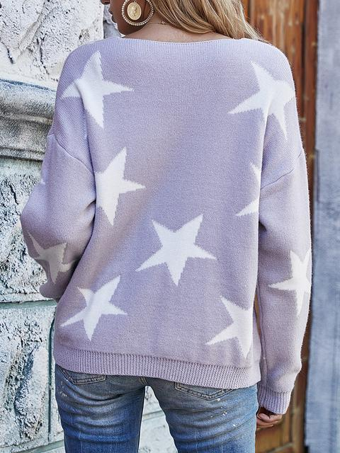 Stars Print V-neck Knitted Sweater