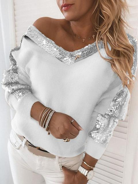 Strapless Knitted Elegant Patchwork V-neck Sweater