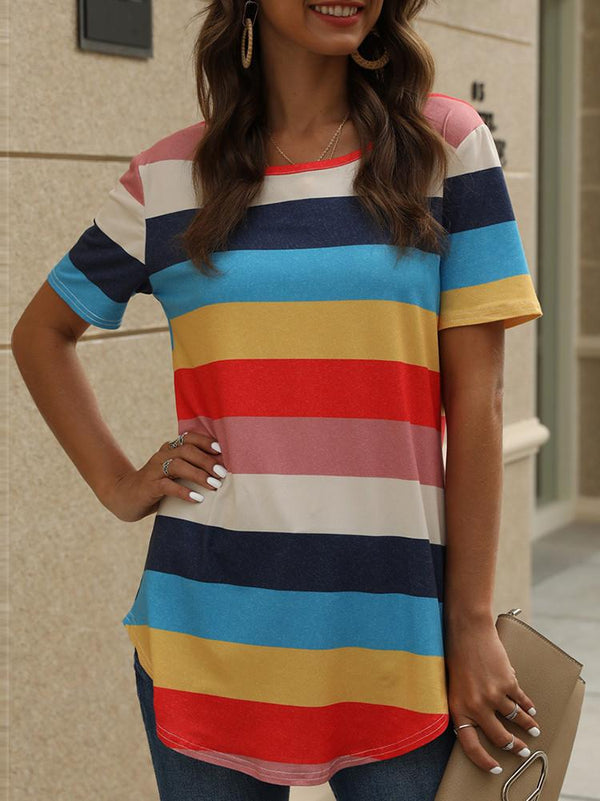 Stripe Print Short Sleeve Casual T-shirt