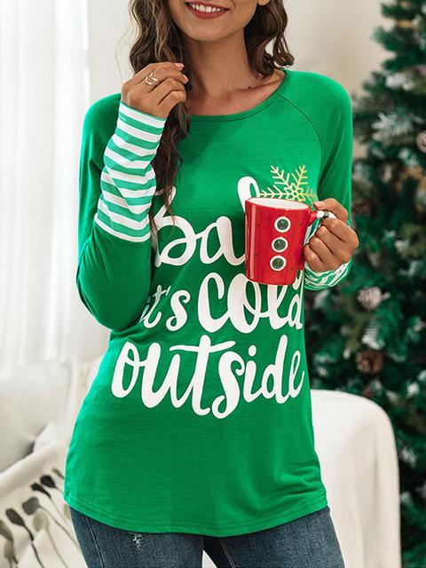 Striped Letter Print Christmas T-shirt
