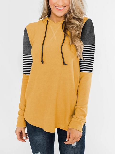 Striped Print Color Block Hooded Sweatshirt