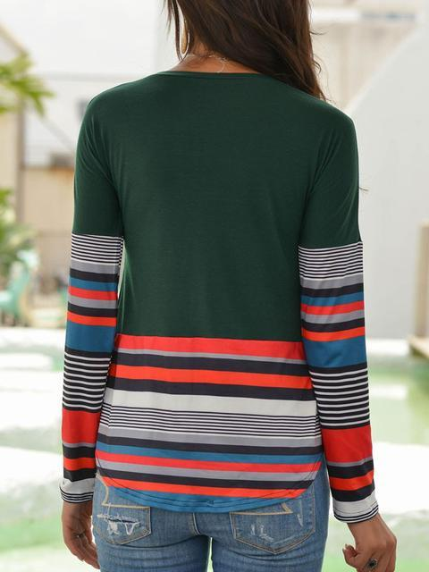 Striped Print Round Neck Tops