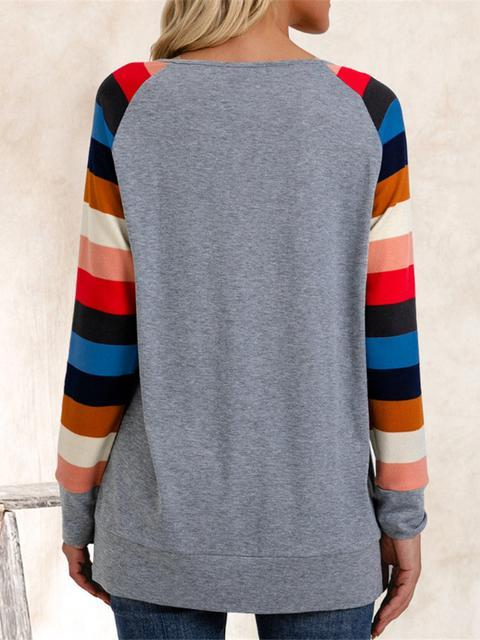 Striped Round Neck Loose Shirt