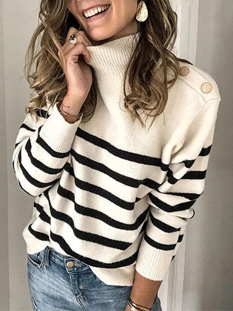 Striped Turtleneck Knitted Sweater