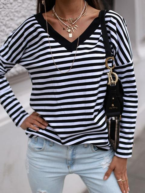Striped V Neck Regular Casual Tops