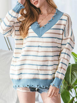 Stripes Knitted V-neck Lazy Sweater