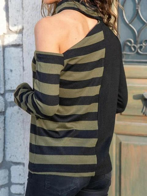 Stripes Print Cold Shoulder Tops